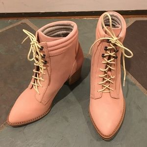 Pilcro and the Letterpress Pink Heel Boot